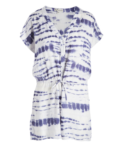 Tie-Dye Button-Front Romper - Women