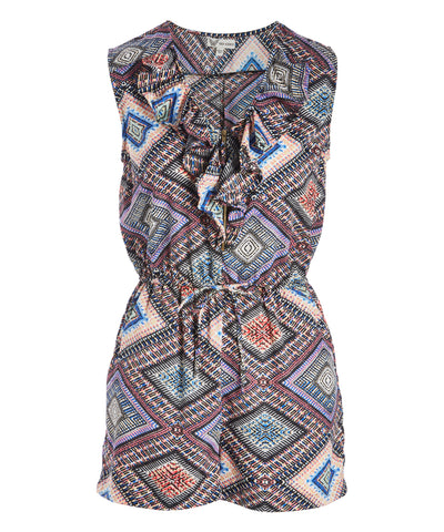 Geometric Zip-Front Romper - Women