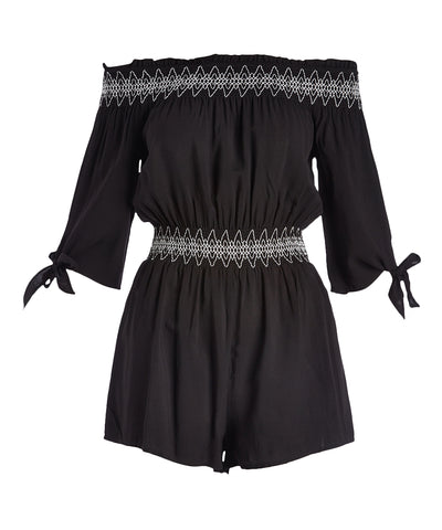 Geometric-Accent Off-Shoulder Romper - Plus