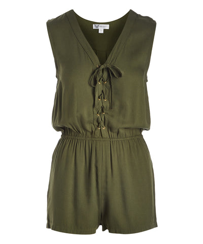 Lace-Up Front Romper - Plus