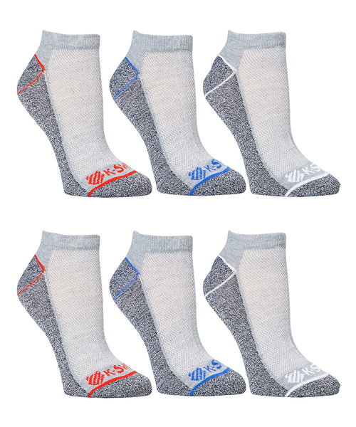 K- Swiss Mens  Light Gray & Dark Gray Color Blocks 12-Pair Socks Set