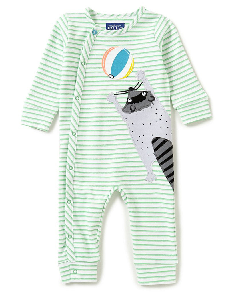 Joules Baby 'Fife' Appliqué Coverall - Green Stripe