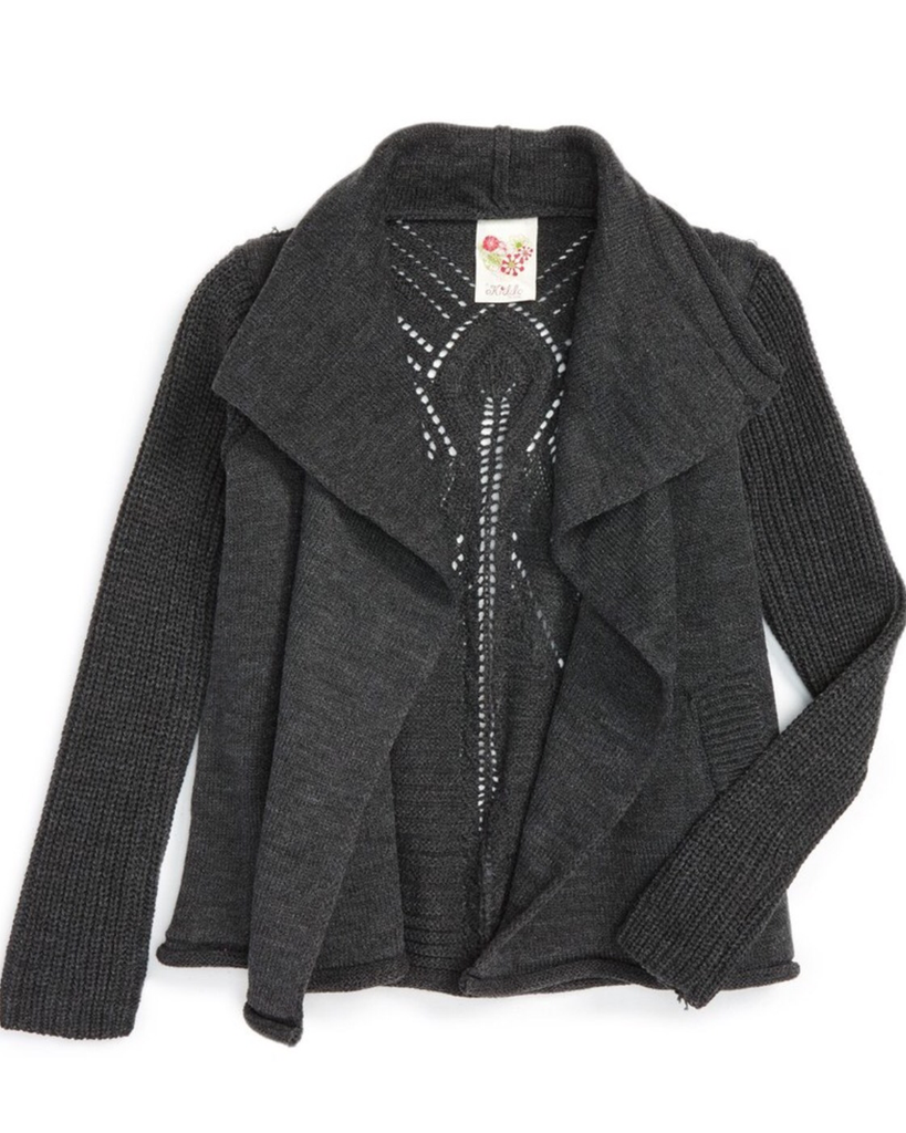 Knit 'Greer' Sweater Jacket - Charcoal - E + ME
