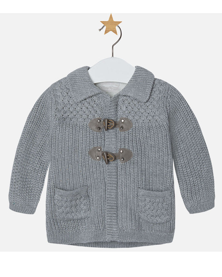 Mayoral Grey Knit Duffle Cardigan - E + ME - 1