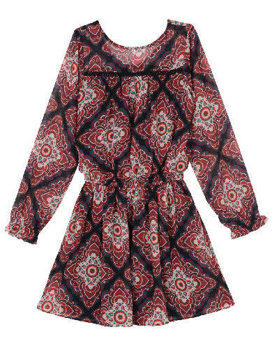 Ella Moss Girl Alena Printed Chiffon Dress - E + ME