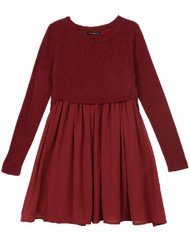 Ella Moss Girl Macie Sweater Dress - Burgundy - E + ME