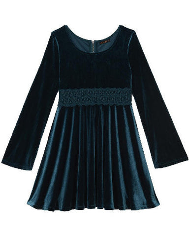Ella Moss Girl Katy Bell Sleeve Dress - Teal - E + ME