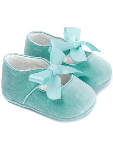 Suede Ribbon Tie Mary Janes - Jade - E + ME - 1