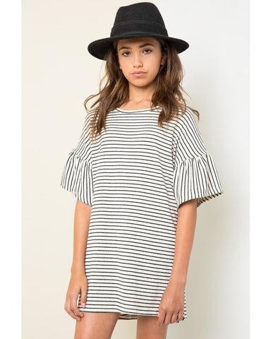 Black & White Stripe Tunic with Bell Sleeves