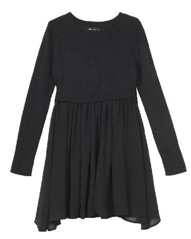 Ella Moss Girl Macie Sweater Dress - Black - E + ME - 1
