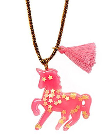 Sparkly Unicorn Pendant Necklace - Pink - E + ME - 1