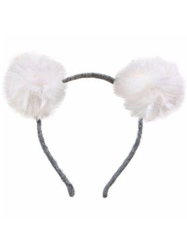 Oh Baby Double Fur Pom Headband - White - E + ME