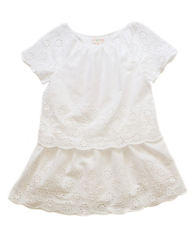Mimi and Maggie Paper Whites Skirted Romper