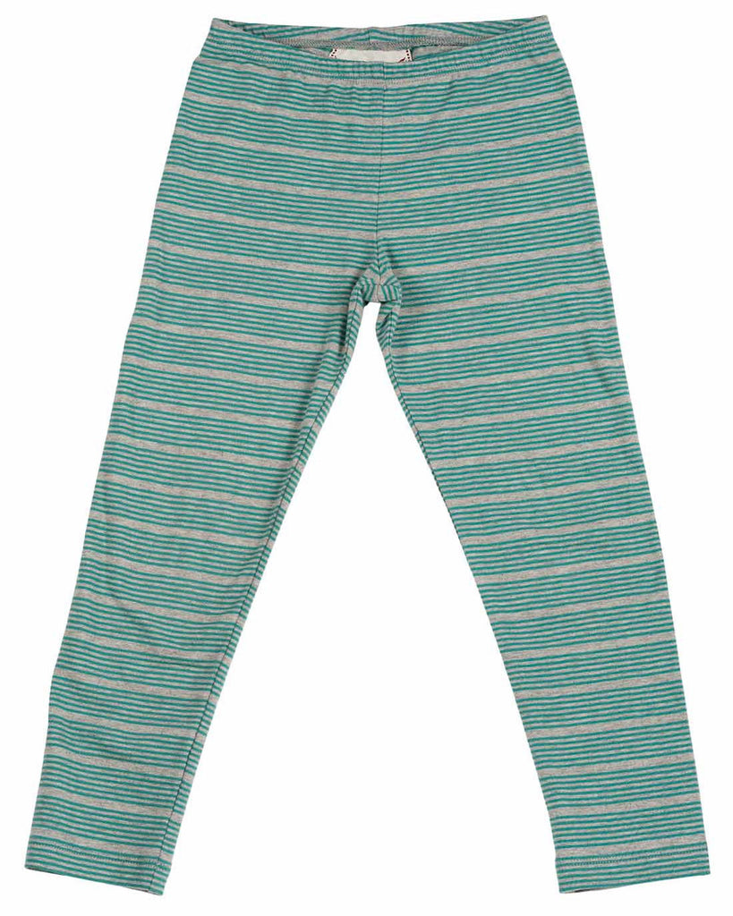Paper Wings Teal Striped Classic Leggings (Size 4-8) - E + ME - 1