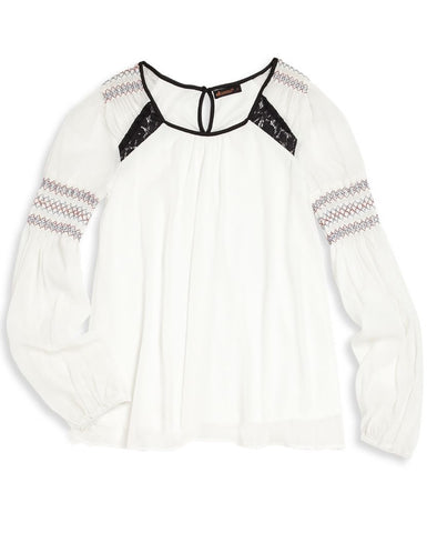 Ella Moss Girl 'Mila' Peasant Top - E + ME