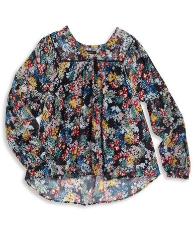 Ella Moss Girl 'Flora' Long Sleeve Printed Peasant Top - E + ME - 1