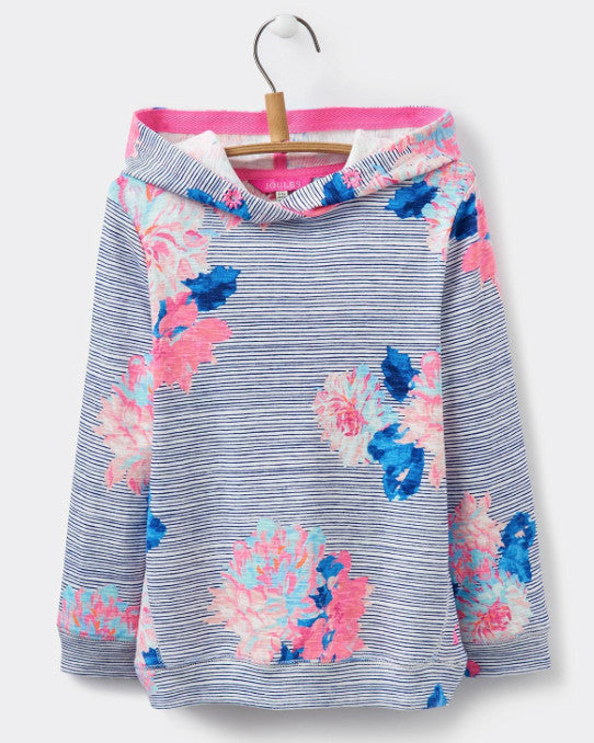 Joules Girl Posey Stripe Slub Cotton Hoodie
