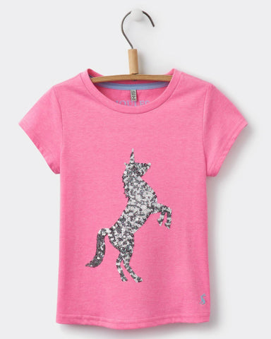 Joules Girl Pink Sequin Unicorn Top