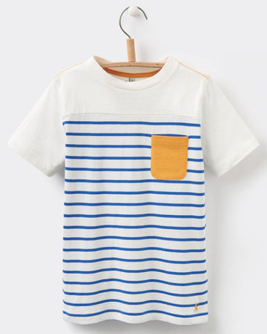 Joules Boy Olly Jersey Stripe Tee - Blue/Yellow