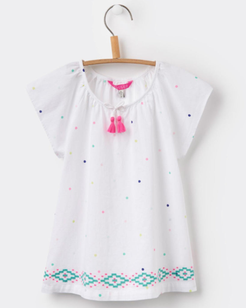 Joules Talia Bright White Dot Woven Top