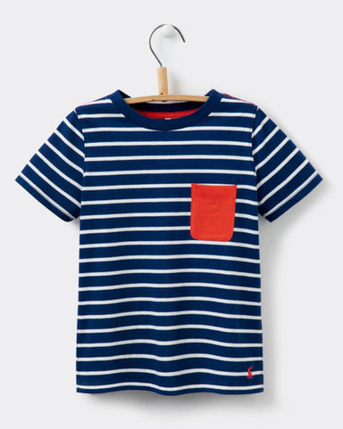 Joules Boy Olly Jersey Stripe Tee - Navy/Red
