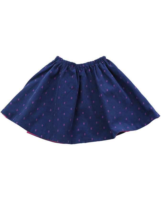 Egg by Susan Lazar Ferrah Reversible Corduroy Skirt - Navy Ditsy/Hot Pink - E + ME - 1