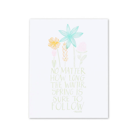 Spring Will Follow Letterpress Print - E + ME
