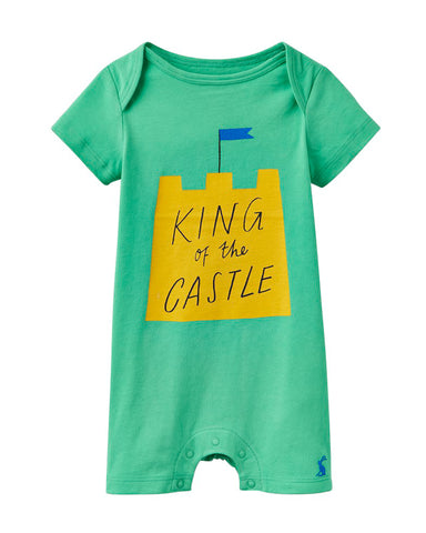 Joules Baby 'King of The Castle' Romper - Green