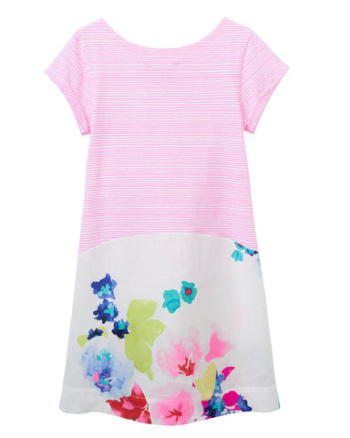 Joules Karolina Neon Pink Rose Print Dress