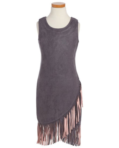Elisa B. Fringe Suede Dress - Gray/Blush - E + ME - 1