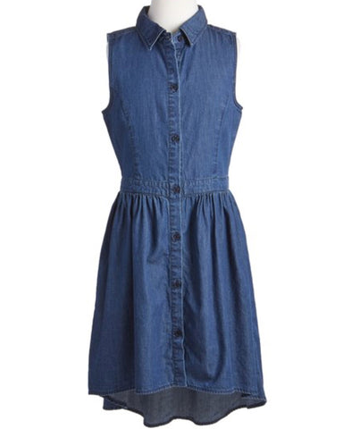 Sleeveless High-Low Shirt Dress - Denim - E + ME - 1