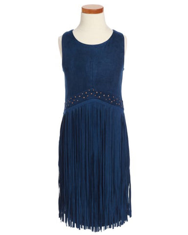 Elisa B. Suede Fringe Dress - Navy - E + ME - 1