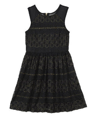 Ella Moss Girl Isla Lace Fit-N-Flare Dress - Black - E + ME