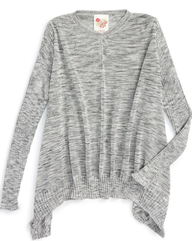 Long Sleeve 'Stella' V-Neck Tunic - Heather Grey - E + ME