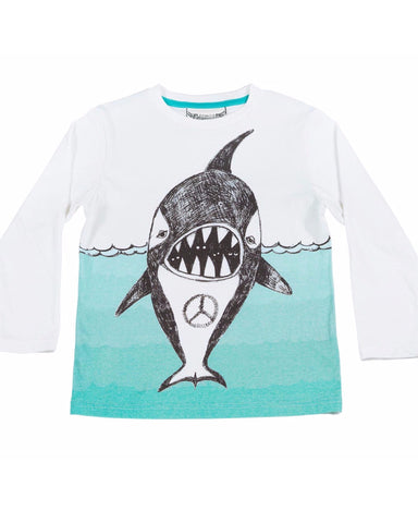 Paper Wings Boy Classic Long Sleeve Tee - Peace Whale - E + ME