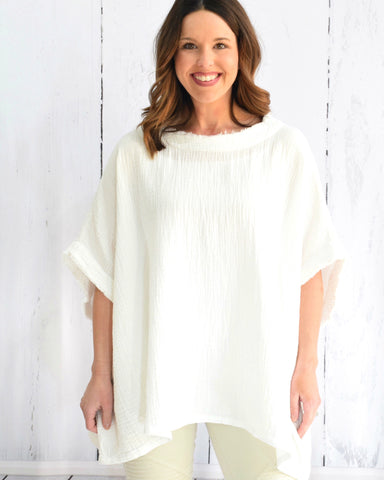 Textured Cotton Boxy Top - E + ME - 1