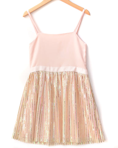 Elisa B Light Pink Party Dress with Sequin Bottom