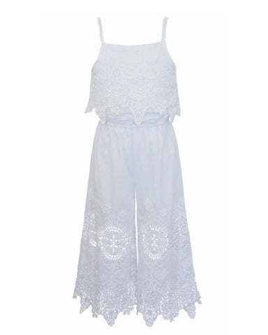 Hannah Banana White Embroidered Lace Jumpsuit - E + ME