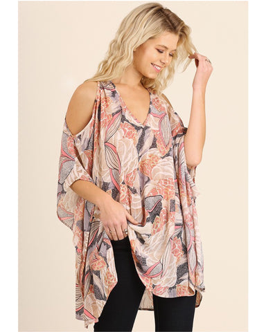 Alexa Open Shoulder Print Tunic