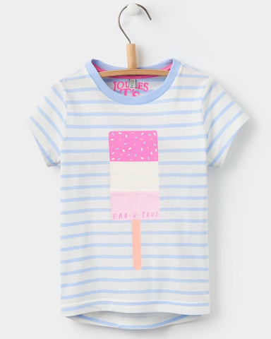 Joules Sky Blue Striped Popsicle Tee