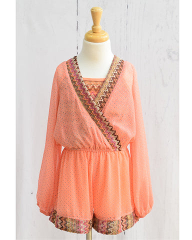 Truly Me Peach Long Sleeve Romper
