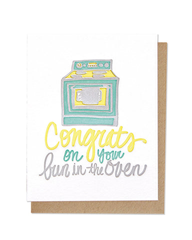 Bun In The Oven Letterpress Card