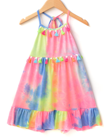 Hannah Banana Tie Dye Halter Dress with Neon Tassels