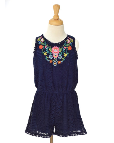 Hannah Banana Navy Lace Romper with Floral Embroidery - E + ME - 1