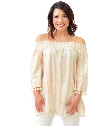 Blush Linen Top with Tassel Trim