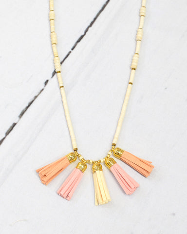 Peach Tassel Necklace - E + ME - 1