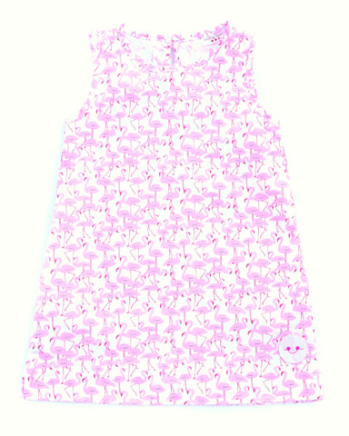Smiling Button Flamingo Dress