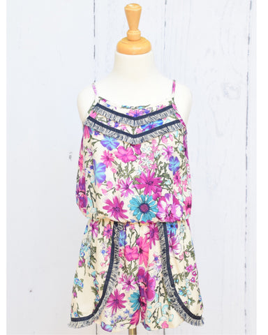 Truly Me Floral Print Romper with Fringe Trim