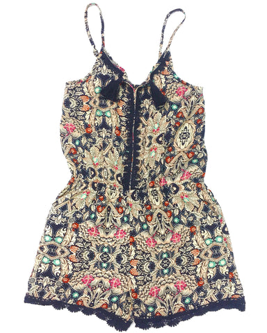 Navy Print Romper with Crochet Trim