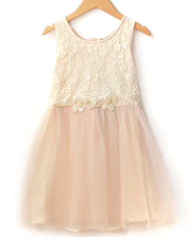 Hannah Banana Ivory Tutu Dress with Lace Top Overlay